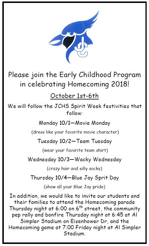 Flyer for the ECC Homecoming celebration calendar. All information is included above.