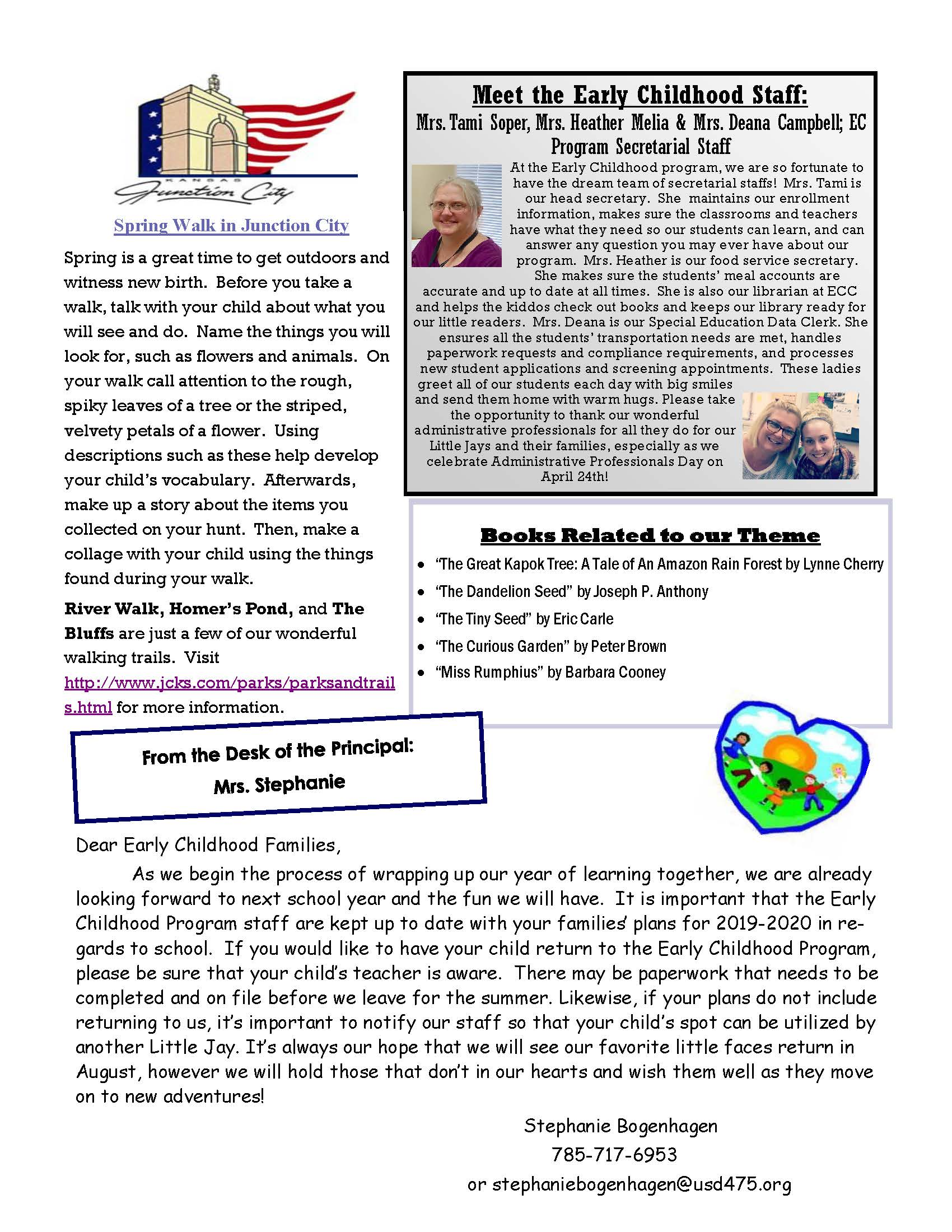 April Newsletter - all information provided above
